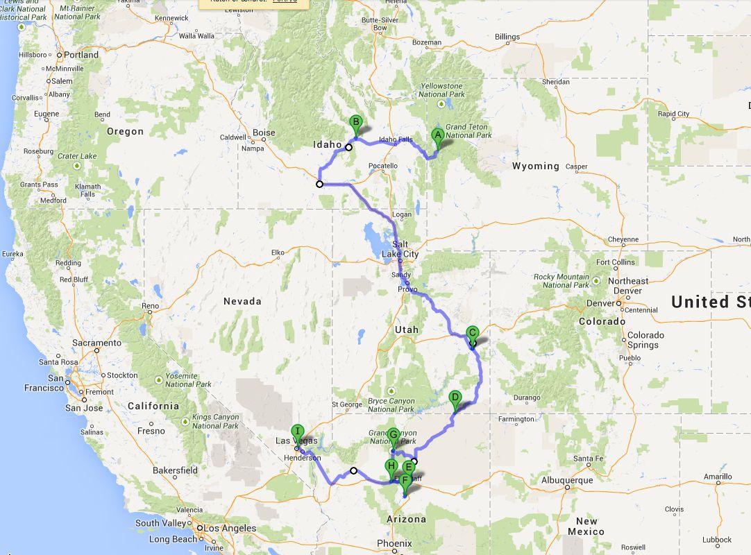 Kort 1 og Kort 2 er vores 20 dage i RV fra Denver til Las Vegas.  (Google Maps kan bare ikke længere håndtere alle punkterne på én gang.)