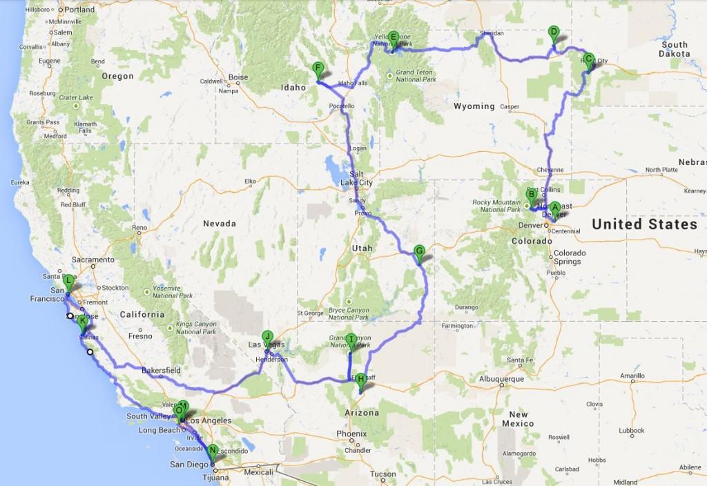 For at få plads i Google Maps har jeg sprunget stop og omveje over, men her er den samlede rute i hovedtræk.